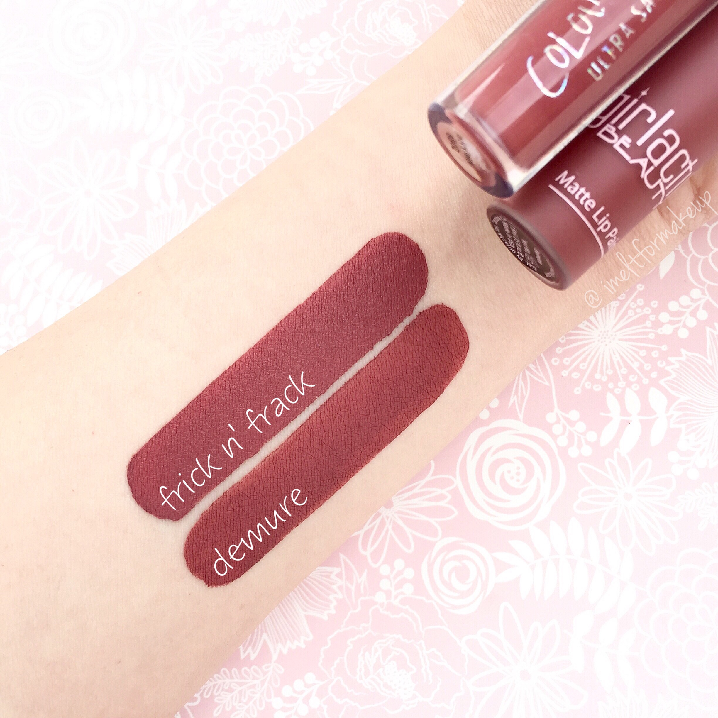 colourpop frick n frack  and girlactik demure