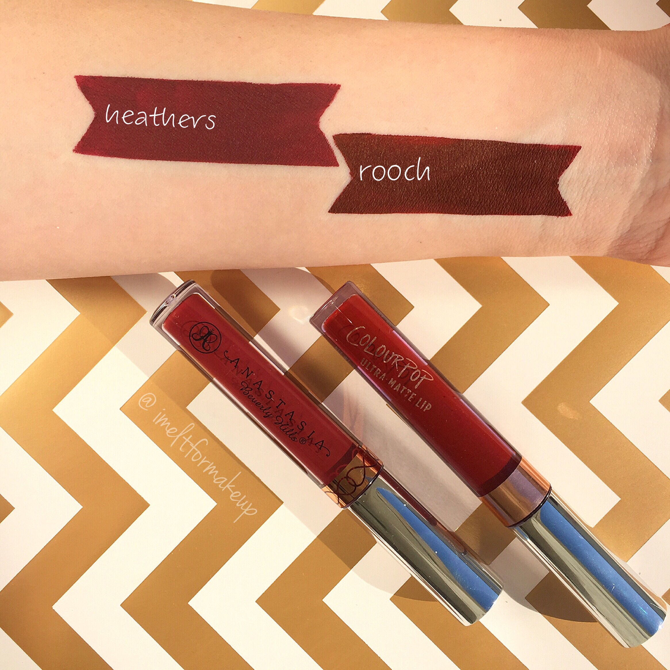 Anastasia Beverly Hills Heathers vs Colourpop Rooch Swatch
