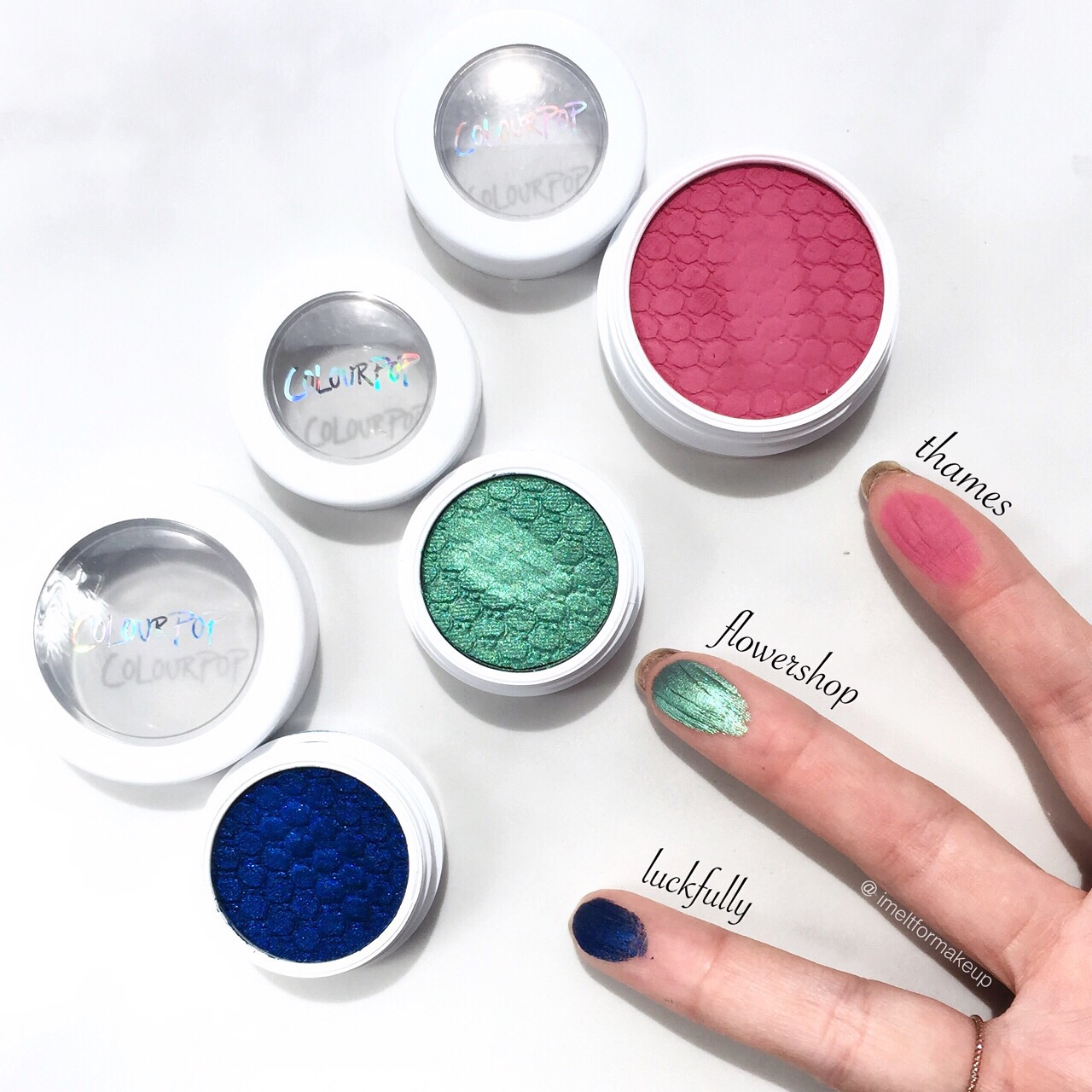 Colourpop Luckfully  swatch, colourpop flower shop swatch, colourpop thames swatch