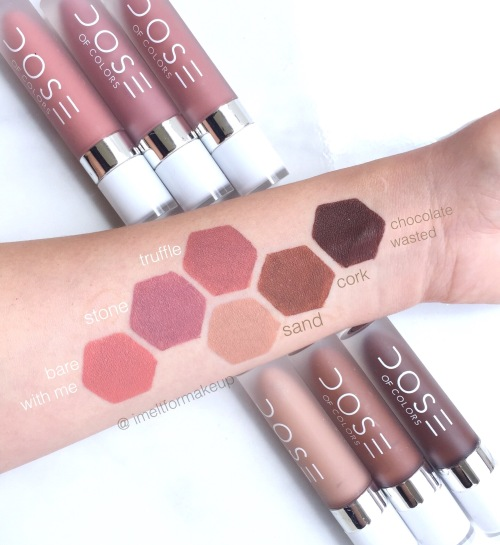 dose of colors chocolate wasted swatch, dose of colors truffle swatch, dose of colors cork swatch, dose of colors sand swatch, dose of colors stone swatch, dose of colors bare with me swatch