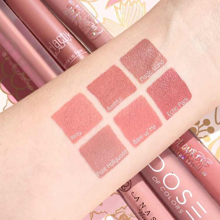 Nude liquid lipstick swatches