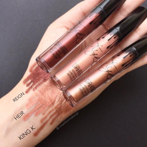Kylie Metal Matte Liquid Lipsticks : Reign, Heir, and King K